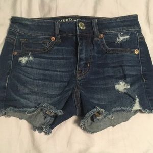 American Eagle Distressed Midi Cut Off Shorts